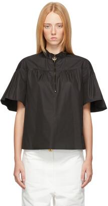 Lanvin Black Ruffle Sleeve Zip Blouse