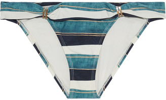 Vix Paula Hermanny Bia Ruched Striped Low-rise Bikini Briefs