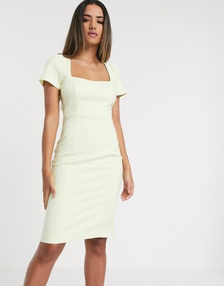 French Connection cap sleeve bodycon dress in pastel yellow