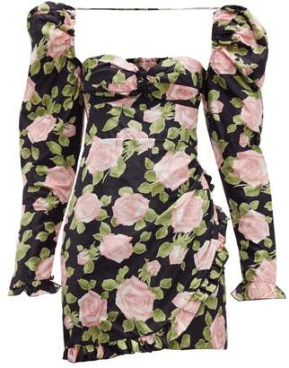 Alessandra Rich Puff Sleeve Rose Print Silk Mini Dress - Womens - Black Pink