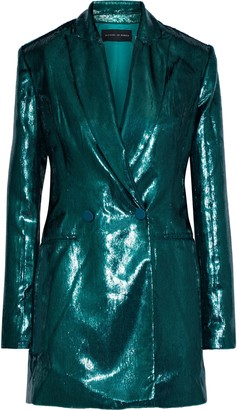 Michael Lo Sordo Double-breasted Metallic Velvet Blazer