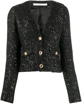 Alessandra Rich Cropped Sequin Embellished Jacket