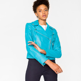 Paul Smith Women's Turquoise Leather Biker Jacket