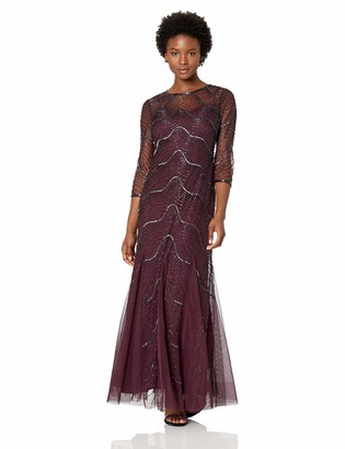 Adrianna Papell Women's Petite Beautiful New Deco Beaded Godet Gown with Elbow Sleeves