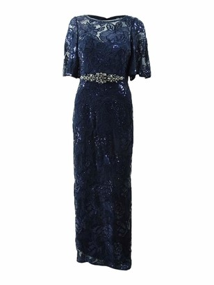 Adrianna Papell Women's 3/4 Sleeve Metallic Sequin Embroidered Gown