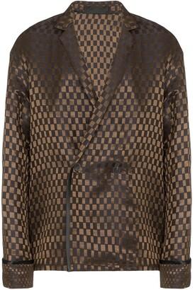 Haider Ackermann square pattern oversized blazer