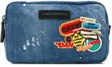 DSQUARED2 patched denim wash bag - men - Cotton/Calf Leather/Polyester - One Size