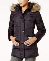 London Fog Plus Size Faux-Fur-Trim Down Coat