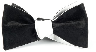 The Tie Bar Solid Satin Black On White Bow Tie