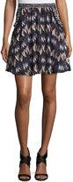 Diane von Furstenberg Army of Hearts Tweed-Trim Silk Miniskirt, Wild Rose/Tan