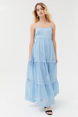 Urban Outfitters Hanna Embroidered Maxi Dress