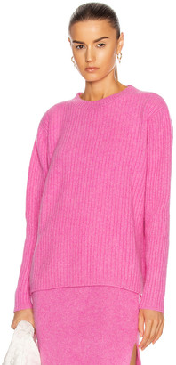 The Elder Statesman Rib Simple Crew Sweater in Neon Pink | FWRD