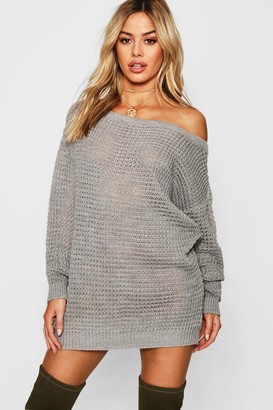 boohoo Petite Waffle Knit Off The Shoulder Jumper Dress