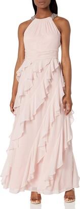 Brinker & Eliza Women's Halter Gown with Beaded Neckline