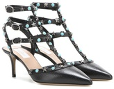 Valentino Garavani Starstudded leather kitten-heel pumps
