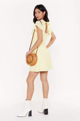 Nasty Gal Womens Tie Your Luck Shirred Tie Dress - Yellow - 6