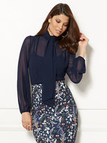New York & Co. Eva Mendes Collection - Isabella Bow Blouse - Navy