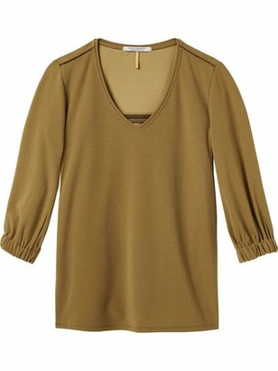 Maison Scotch Woven V Neck Top - M / Olive - Green