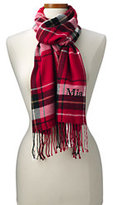 Lands' End Women's CashTouch Plaid Scarf-Rich Red Plaid