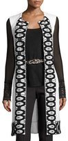 St. John Sara Lace-Trim Knit Vest, White/Black