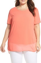 Vince Camuto Plus Size Women's High/low Chiffon Overlay Top