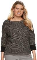 Dana Buchman Plus Size Wave Boatneck Sweater
