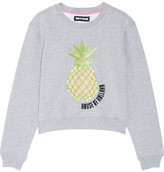 House of Holland Embellished Cotton-blend Jersey Sweatshirt - Gray