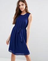 Lavand Tie Waist Sleeveless Dress In Blue