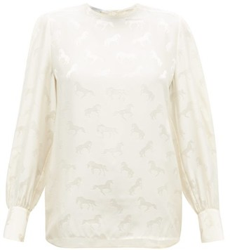Stella McCartney Horse Silk-jacquard Blouse - Ivory
