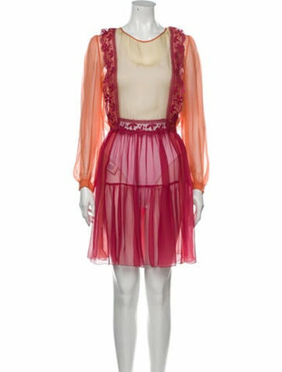 Alberta Ferretti Silk Mini Dress Orange