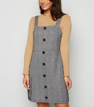 New Look Petite Light Check Button Pinafore Dress