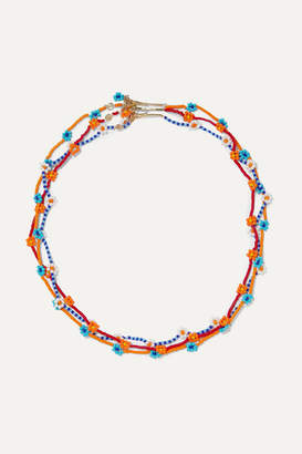 Roxanne Assoulin - Daisy Set Of Three Gold-tone Beaded Necklaces - Orange