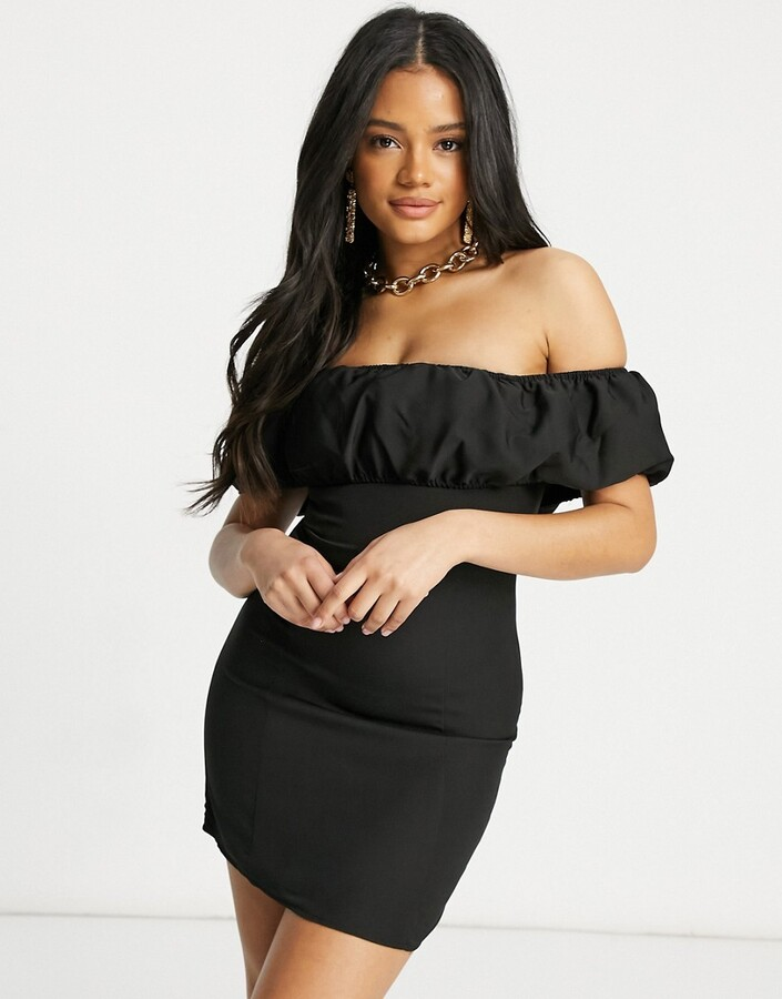Thumbnail for your product : Parisian off-the-shoulder puff sleeve mini dress in black
