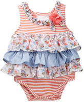 Iris & Ivy Striped Knit Ruffle Bodysuit (Baby Girls)