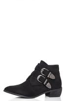 Quiz Black Faux Suede Double Buckle Western Ankle Boots