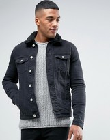 Asos Skinny Denim Jacket With Fleece Collar in Black Wash