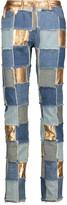 Moschino Mid-rise patchwork metallic leather-paneled slim-leg jeans