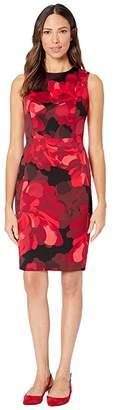 Calvin Klein Floral Print Sheath Dress (Red Multi) Women's Dress
