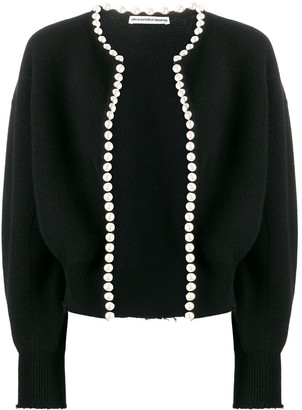 Alexander Wang Cropped Pearl Embellished Cardigan