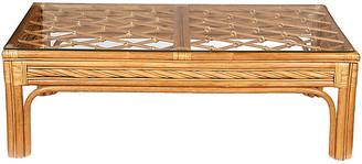 One Kings Lane Vintage 1970s Bamboo & Glass Top Coffee Table - 2-b-Modern