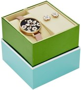 Kate Spade Metro Floral Analog Leather-Strap Watch & Stud Earrings Boxed Set