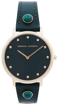 Rebecca Minkoff Major Green Leather Strap Watch, 35mm