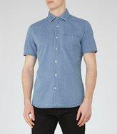 Reiss Kitt - Short Sleeve Denim Shirt in Blue, Mens