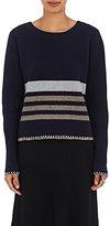 Chloé Women's Striped Wool-Cashmere Sweater-NAVY