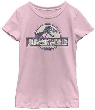 Fifth Sun Jurassic World Purple Camo T-Rex Fossil Logo Girls Crew Neck Short Sleeve Jurassic World Graphic T-Shirt - Preschool / Big Kid Slim