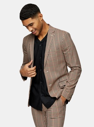 Topman Brown Gingham Check Skinny Fit Single Breasted Suit Blazer With Notch Lapels
