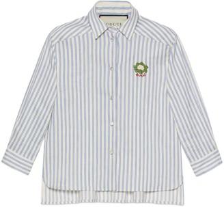 Gucci Striped cotton linen shirt with cauliflower