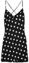 Michelle Mason - Polka-dot Silk Mini Dress - Black