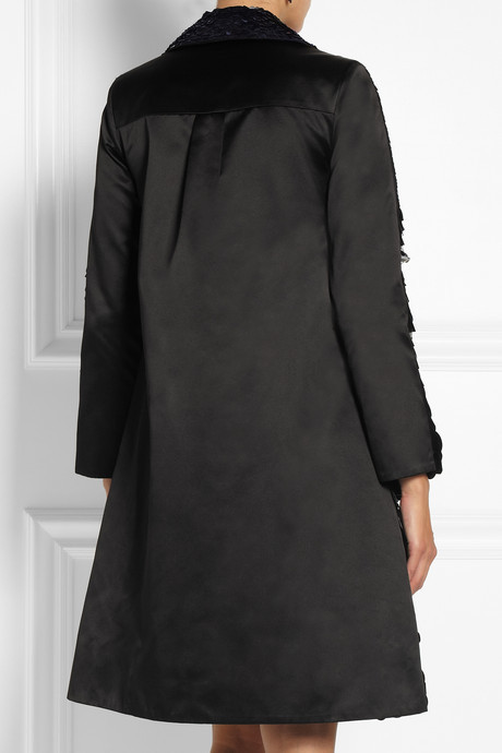 Erdem Kayleigh paillette-embellished silk-satin coat