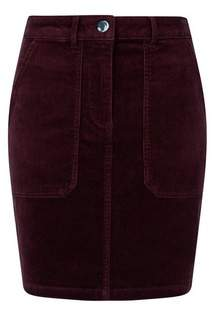 Dorothy Perkins Womens Berry Cord Cotton Blend Skirt